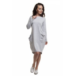 Těhotenské a kojící šaty Oversize šedá melanž