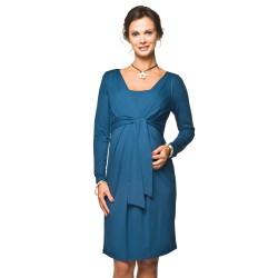 Těhotenské a kojící šaty Blufi indigo dlouhý rukáv