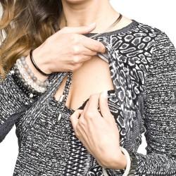 Těhotenské a kojící šaty Mino černo bílá
