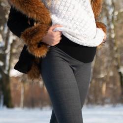 Zateplené těhotenské leginy Veronika šedá