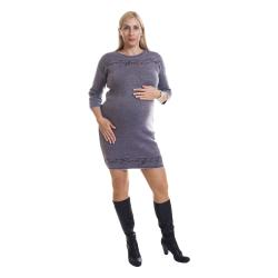 Zimní šaty BINKA 1802 šedorůžové se stříbrem