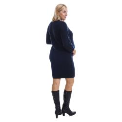 Zimní šaty BINKA 1802 tmavě modré s lurexem