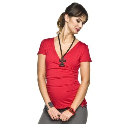 Těhotenská halenka Jasmir červená - krátký rukáv