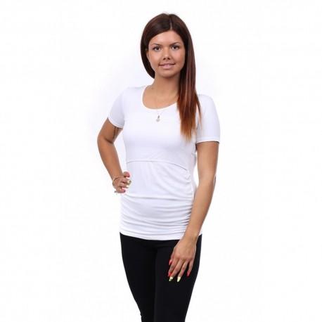 Těhotenské a kojící tričko Stella bílá