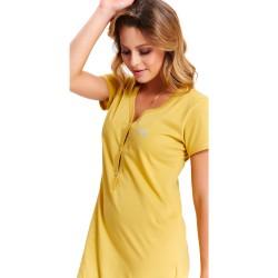 Těhotenská noční košilka Tereza pro kojení žlutá