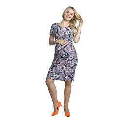 Letní těhotenské šaty Maze vzorované oranž