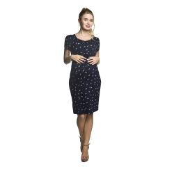 Těhotenské a kojící šaty MAZE krátký rukáv tmavě modré