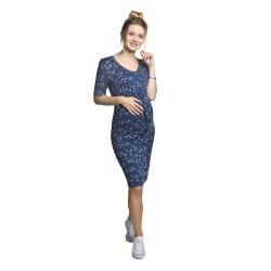 Těhotenské a kojící šaty YONA modrá s květy