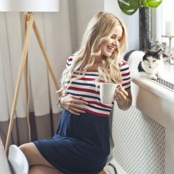 Těhotenské a kojící šaty TILLA červenomodrý proužek
