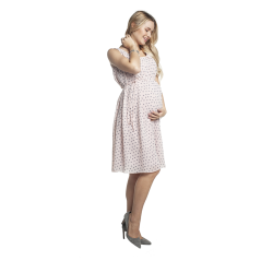 Letní těhotenské šaty KRISSA pudrové se vzorem