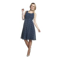 Letní těhotenské šaty KRISSA modré se vzorem
