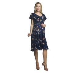 Květované těhotenské a kojící šaty KYLIE s volány modré