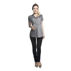 Těhotenská a kojící košile MELBA krátký rukáv šedá