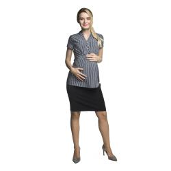 Těhotenská a kojící košile MELBA krátký rukáv šedá s proužkem