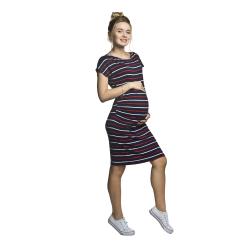 Letní těhotenské šaty Zarita tm modré červený proužek