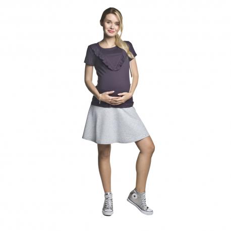 Těhotenská kolová minisukně Nife světle šedá