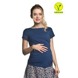 Těhotenská halenka Basic krátký rukáv modrá