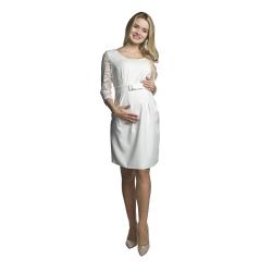 Těhotenské krajkové šaty Amber krémové