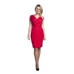Těhotenské šaty Blufi červené krátký rukáv