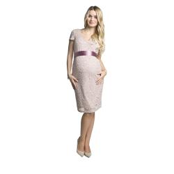 Luxusní krajkové těhotenské šaty Lace KR světle růžové