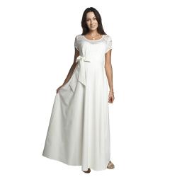Těhotenské luxusní romantické šaty Natalie krémové