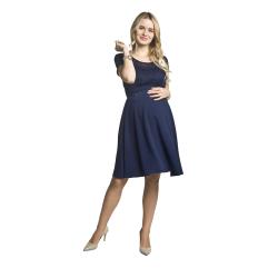 Těhotenské luxusní krajkové šaty Santia tmavě modré
