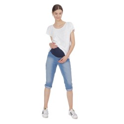 Riflové těhotenské capri OXANA modrá jeans