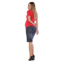 Riflová těhotenská sukně KLARA tmavě modrá jeans