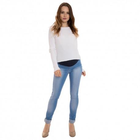 Riflové těhotenské kalhoty OXANA modrá jeans