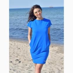 Letní úpletové šaty Tuba modrá