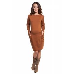 Těhotenské a kojící šaty Oversize skořicová