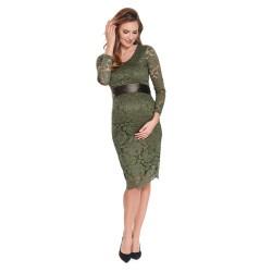 Krajkové těhotenské šaty TENUA olivová.