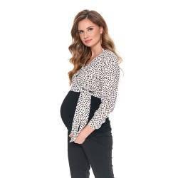Těhotenská košile s vázačkou PAPUNI černá/bílá s puntíky