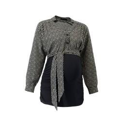 Těhotenská košile s vázačkou PAPUNI černá/krémový vzor