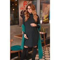 Úpletové těhotenské šaty GIGAMMI antracitová.