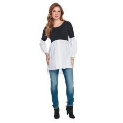 Těhotenská košile NAMUKA černobílá proužek.