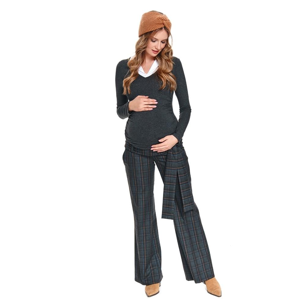 Těhotenské zvonové kalhoty ELEGANCE s vázačkou káro.