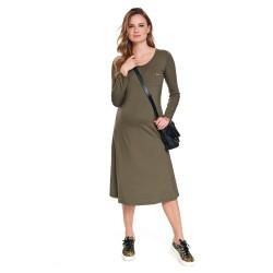 Těhotenské midi šaty Lilly olivová.