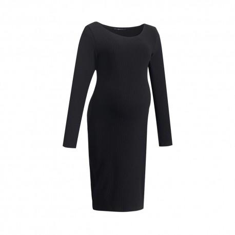 Zimní těhotenské úpletové šaty CARELI černá.