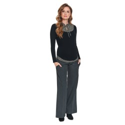 Těhotenské zvonové kalhoty ELEGANCE s vázačkou antracit