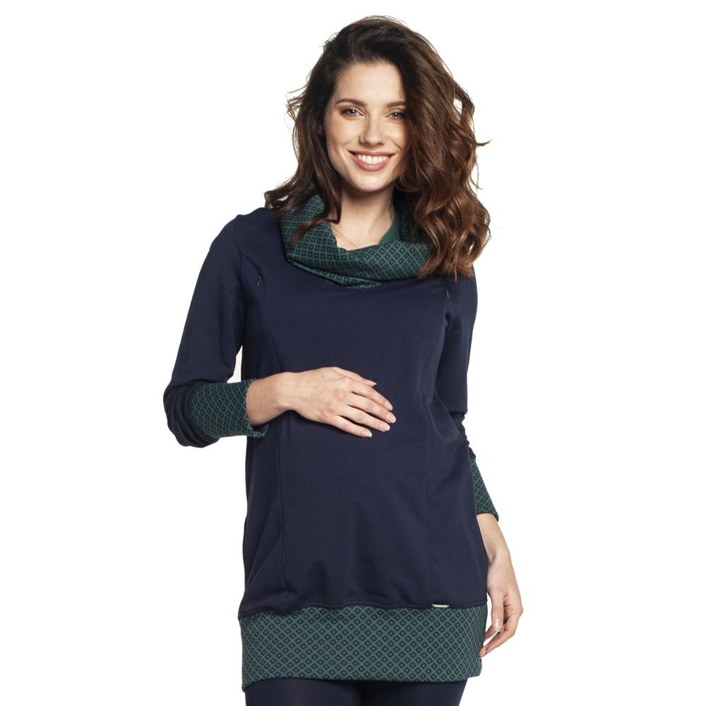 Těhotenská a kojící tunika NELLA tm modrá.