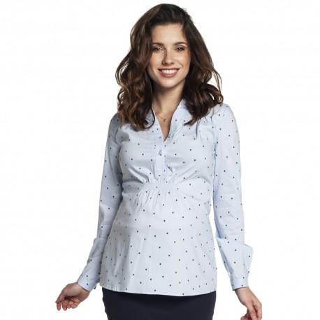 Těhotenská a kojící košile Melba bílo modrá