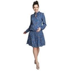 Těhotenské a kojící šaty KAIRA modré s květy.