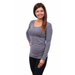 Těhotenské a kojící tričko Stella dlouhý rukáv šedá melanž