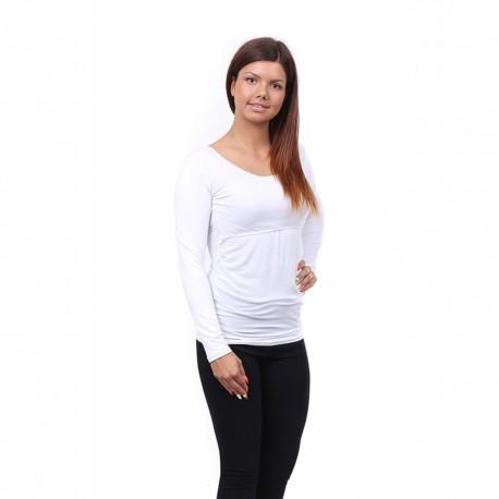 Těhotenské a kojící tričko Stella dlouhý rukáv bílá