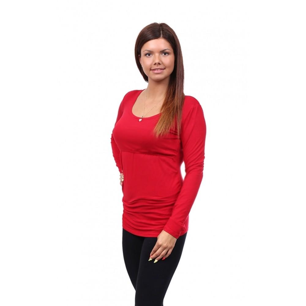 Těhotenské a kojící tričko Stella dlouhý rukáv červená