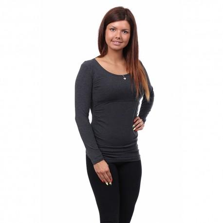 Těhotenské a kojící tričko Stella dlouhý rukáv grafit