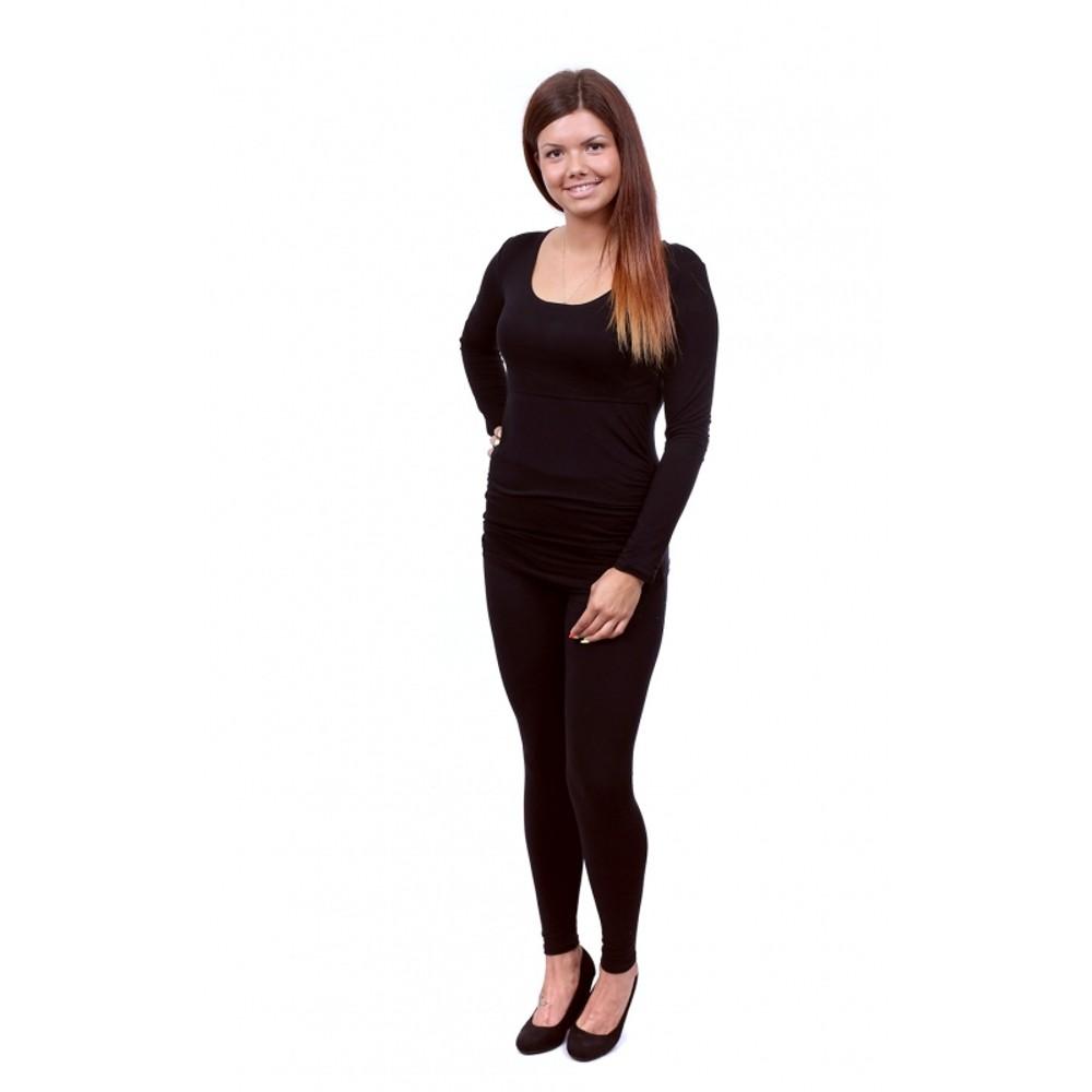 Těhotenské a kojící tričko Stella dlouhý rukáv černá