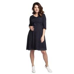Těhotenské a kojící šaty JULIA tmavě modrá puntík.