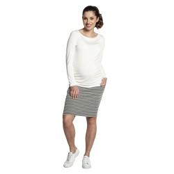 Úpletová těhotenská sukně MOLA bílošedá.